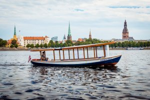 Boats in the Riga Canal – River Cruises Latvija