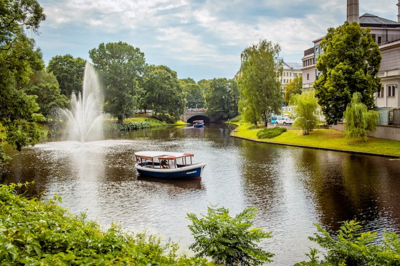 Boat in the Riga Canal – River Cruises Latvija