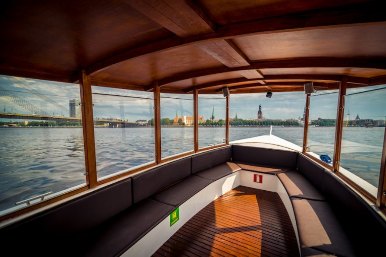 Boats in the Riga Canal – River Cruises Latvia