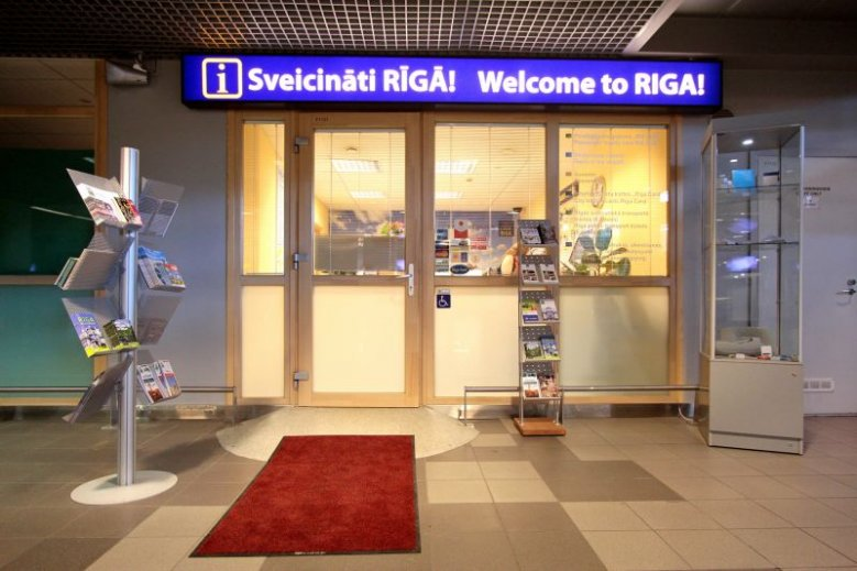 """Welcome to Riga!"" office at the Riga International Airport"