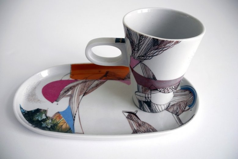 Cup with a saucer, porcelain. Design by Valda Podkalne, painting by Pēteris Martinsons. 1993.